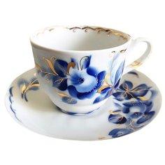 Добрушский фарфоровый завод чайная пара Тюльпан Татьяна 250 мл белый/синий/золотистый