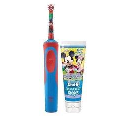 Электрическая зубная щетка Oral-B Vitality D14.513K Тачки + зубная паста, красный/синий