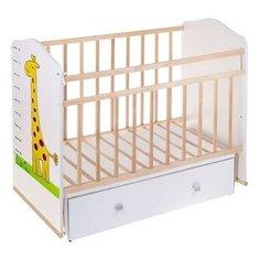 Кроватка Волжская деревообрабатывающая компания Морозко (с ящиком) (качалка), поперечный маятник бежевый/жирафы