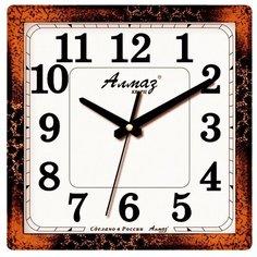 Часы настенные кварцевые Алмаз K15/K18/K38 черно-коричневый
