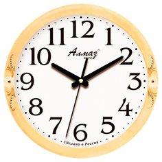 Часы настенные кварцевые Алмаз E19 бежевый/белый
