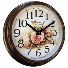 Часы настенные кварцевые Алмаз A07 коричневый/бронза