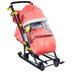 Санки-коляска Nika Ника Детям 7-7 (НД7-7) дизайн в джинсовом стиле красный