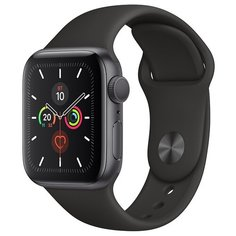 Часы Apple Watch Series 5 GPS 44mm Aluminum Case with Sport Band серый космос/черный