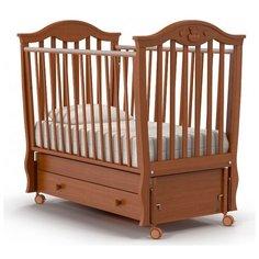 Кроватка Nuovita Sorriso (качалка), продольный маятник темный орех