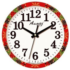 Часы настенные кварцевые Алмаз B92-B93 красный/белый