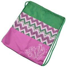 BG Мешок для обуви Модный зигзаг, 37х47 см зеленый/розовый BG®