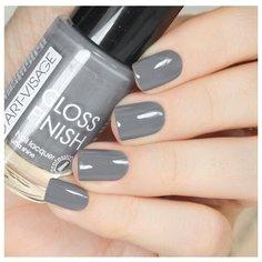 Лак ART-VISAGE Gloss Finish Nail Lacquer, 8.5 мл, оттенок 128 графит