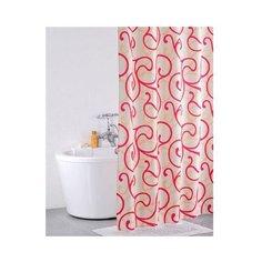 Штора для ванной IDDIS 411P20RI11 200x200 белый/красный