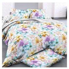 Постельное белье 2-спальное с евро простыней ЛайМ Весенняя акварель, сатин голубой/оранжевый/белый