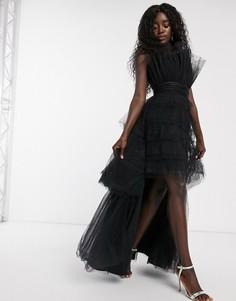 Черное ярусное платье макси из тюля Chi Chi London-Черный