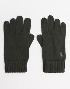 Оливковые шерстяные перчатки с логотипом Polo Ralph Lauren-Зеленый
