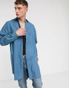 Длинная джинсовая oversize-рубашка ASOS DESIGN-Синий