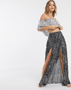 Пляжная юбка макси в горошек от комплекта ASOS DESIGN-Мульти