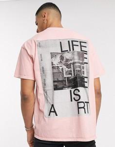 Розовая футболка с принтом Topman-Розовый