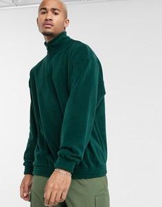 Темно-зеленый флисовый oversized-свитшот с короткой молнией ASOS DESIGN