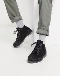Черные кожаные походные ботинки Jack & Jones-Черный