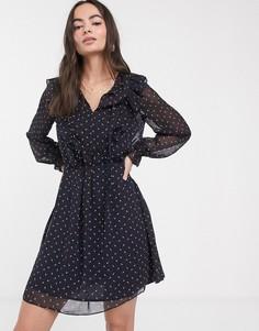 Платье из жоржета с длинными рукавами и поясом French Connection-Мульти