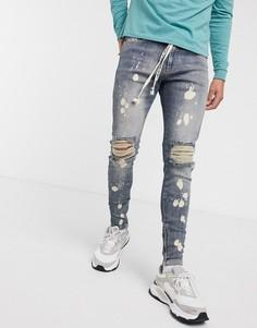 Синие джинсы с рваной отделкой The Couture Club-Синий