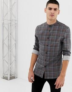 Джинсовая облегающая рубашка в клетку ASOS DESIGN-Серый