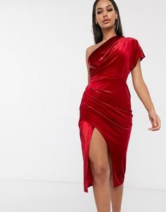 Бархатное платье миди с запахом ASOS DESIGN-Красный