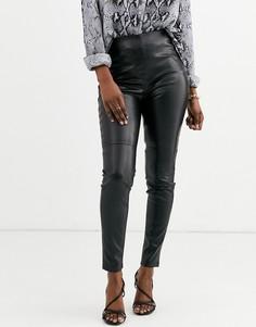 Черные леггинсы из искусственной кожи Esprit-Черный