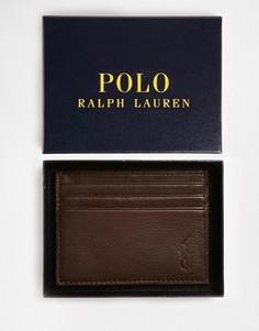 Коричневая кожаная визитница Polo Ralph Lauren-Коричневый