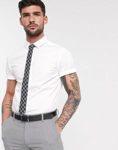 Белая облегающая рубашка с короткими рукавами ASOS DESIGN-Белый