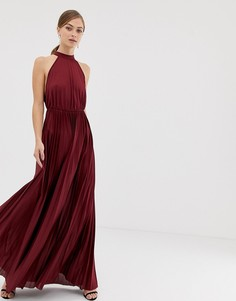 Плиссированное приталенное платье макси с американской проймой ASOS DESIGN-Красный