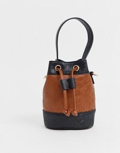 Миниатюрная сумка-мешок с тиснением ASOS DESIGN-Мульти