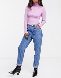 Синие джинсы в винтажном стиле Bershka-Синий