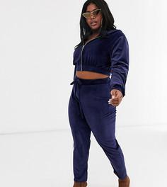 Бархатные облегающие джоггеры темно-синего цвета со шнурком Fashionkilla Plus-Бежевый