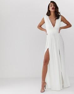 Плиссированное платье макси с кружевной вставкой ASOS DESIGN-Белый