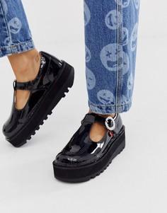 Черные туфли из лакированной кожи на плоской подошве с пряжкой Kickers Kick Trixie-Черный