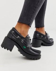 Черные кожаные туфли со шнуровкой на низком каблуке Kickers Klio-Черный