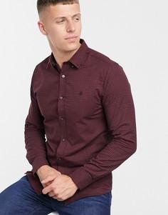 Бордовая узкая рубашка в клетку с длинными рукавами Burton Menswear-Красный