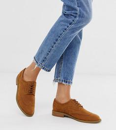 Коричневые туфли на плоской подошве ASOS DESIGN-Светло-коричневый