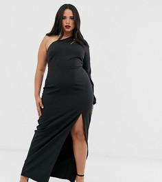 Черное платье макси на одно плечо с разрезом и вырезом Vesper Plus-Черный
