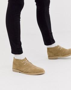 Светло-бежевые замшевые ботинки чукка ASOS DESIGN-Светло-бежевый
