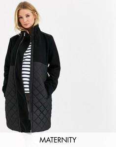 Черное стеганое пальто со съемной вставкой для беременных Mamalicious-Черный Mama.Licious