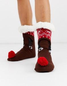 Новогодние носки с оленями ASOS DESIGN-Коричневый