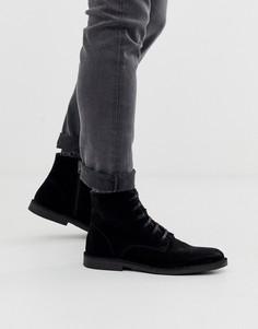 Черные кожаные ботинки на шнуровке Selected Homme-Черный