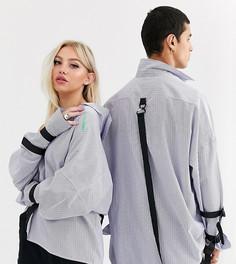 Oversize-рубашка в полоску с заниженной линией плеч в стиле унисекс COLLUSION-Белый