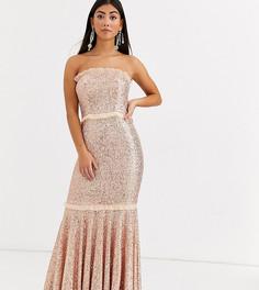 Золотистое платье бандо с пайетками Jarlo Petite-Золотой