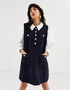 Вельветовое платье-сарафан с отделкой в стиле рубашки и пуговицами в форме сердца Sister Jane-Темно-синий