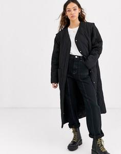 Черное легкое стеганое пальто Weekday-Черный