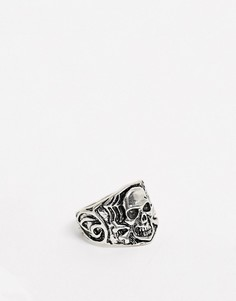 Серебристое кольцо с черепом ASOS DESIGN-Серебряный