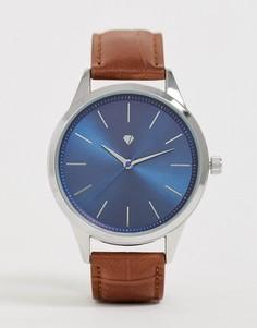 Мужские часы с коричневым ремешком и синим циферблатом Spirit-Светло-коричневый