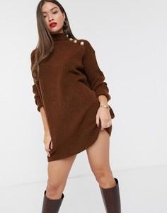 Платье-водолазка коричневого цвета с пуговицами на плече River Island-Коричневый