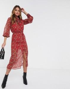 Красное платье миди с цветочным принтом и бантом River Island-Красный